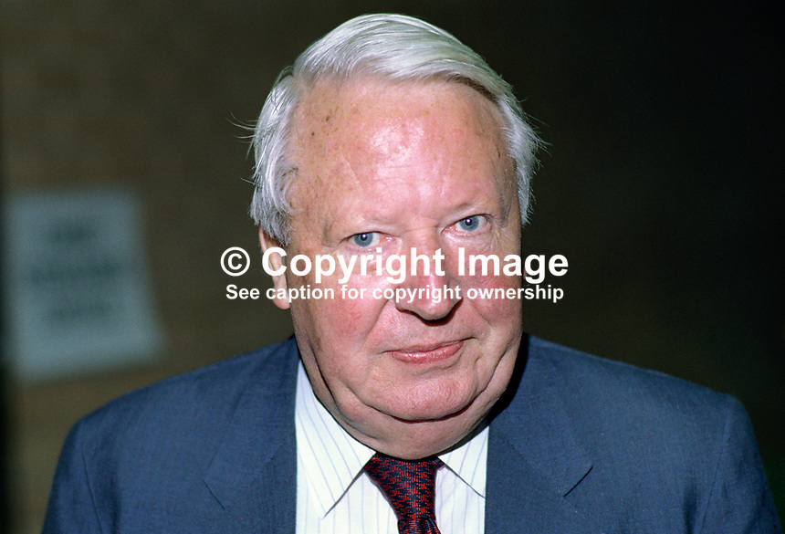 Edward Heath, MP, Conservative Party, UK, politician, former prime minister, at annual conference. 19901048ED1.<br />