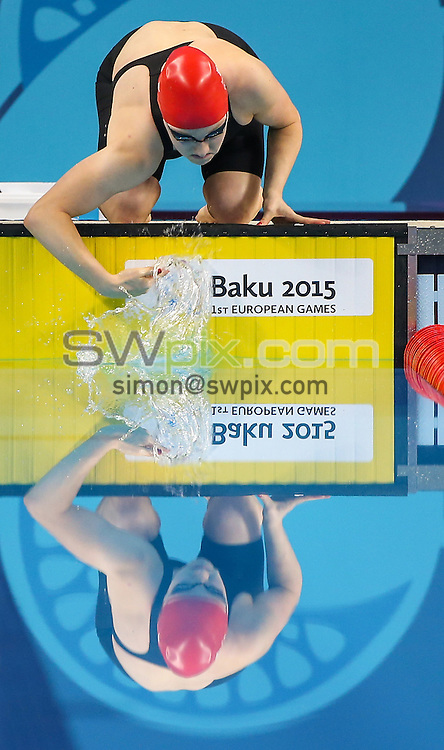Picture by Alex Whitehead/SWpix.com - 23/06/2015 - Baku 2015, 1st European Games - Swimming - Baku Aquatics Centre, Baku, Azerbaijan - Great Britain's Emma Cain prepares to compete in the Women's 50m Breaststroke Semi-Finals.