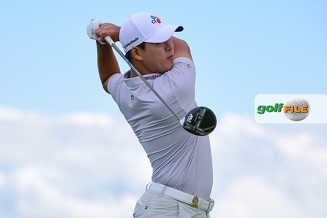 Si Woo Kim (KOR) watches his tee shot on 7 during Sunday's round 4 of the 117th U.S. Open, at Erin Hills, Erin, Wisconsin. 6/18/2017.<br /> Picture: Golffile | Ken Murray<br /> <br /> <br /> All photo usage must carry mandatory copyright credit (&copy; Golffile | Ken Murray)