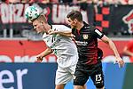 12.05.2018, BayArena, Leverkusen, GER, 1.FBL, Bayer 04 Leverkusen vs Hannover 96, im Bild Kopfball / Kopfballduell Timo Huebers / H&uuml;bers (#15, Hannover 96) Lucas Alario (#13, Bayer 04 Leverkusen) <br /> <br /> <br /> Foto &copy; nordphoto/Mauelshagen