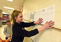 NWA Democrat-Gazette/FLIP PUTTHOFF<br />Kindzie Hahn (cq), a student at Lingle Middle School in Rogers, displays Wednesday March 14 2018 student messages that will be sent to Marjory Stoneman Douglas high school in Parkland, Fla.