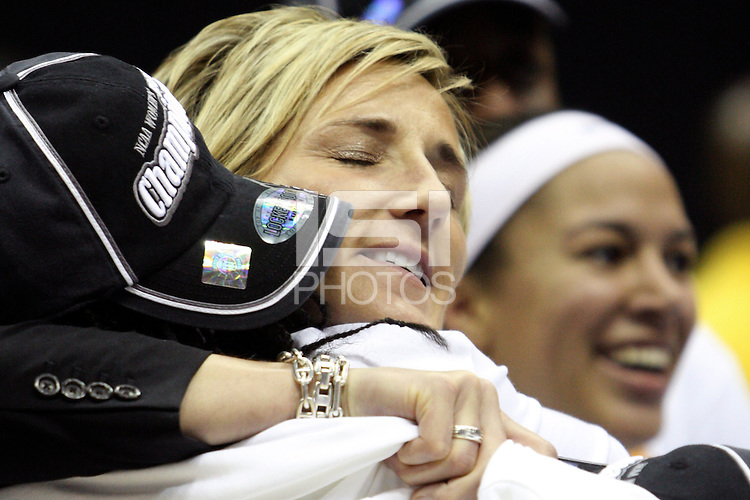 BERKELEY, CA - MARCH 30: Assistant coach Kate Paye enjoys the celebration following Stanford's 74-53 win against the Iowa State Cyclones on March 30, 2009 at Haas Pavilion in Berkeley, California.
