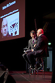 Warriors Coach Brian (Bluey) McClennan is interviewed by MC Geoff Bryan. Counties Manukau Sport Sporting Excellence Awards held at the Telstra Clear Pacific Events Centre Manukau on December 1st 2011.