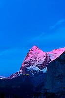 The Eiger in alpenglow, from Murren, Canton Bern, Switzerland