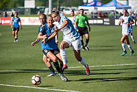 Kansas City, MO - Sunday May 07, 2017: Brittany Ratcliffe, Katie Bowen, Steph Catley during a regular season National Women's Soccer League (NWSL) match between FC Kansas City and the Orlando Pride at Children's Mercy Victory Field.