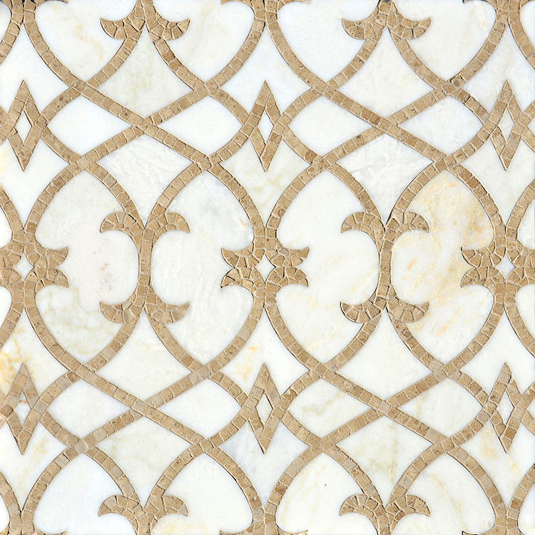 Avila, a natural stone waterjet and hand-cut mosaic shown in Cloud Nine polished and Lavigne honed, is part of the Miraflores collection by Paul Schatz for New Ravenna.