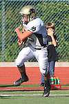 Manhattan Beach, CA 10/27/11 -Shane Scott (Peninsula #18) in action during the Peninsula vs Mira Costa Junior Varsity football game.