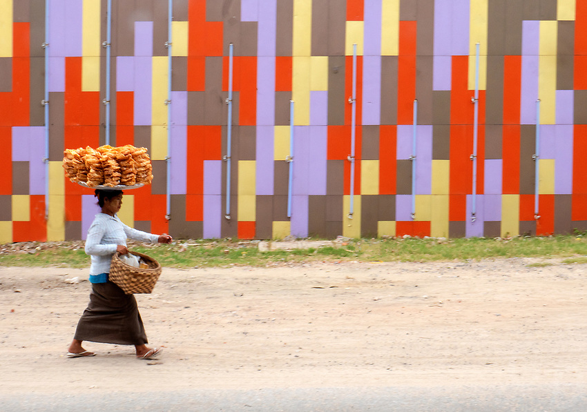 "Street scene in front of a new Karaoke Bar in Mandalay ""The new Myanmar"""