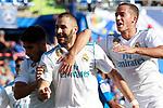 Real Madrid's Marco Asensio, Karim Benzema and Lucas Vazquez celebrate goal during La Liga match. October 14,2017. (ALTERPHOTOS/Acero)