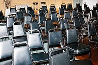 Empty seats fill the hall after Vermont senator and Democratic presidential candidate Bernie Sanders spoke at a campaign event at the White Mountain Chalet event hall in Berlin, New Hampshire.
