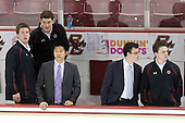 Kevin Pratt (BC - Student Manager), Stephen Greenberg (BC - Senior Manager), Samson Lee (BC - Video Coordinator), Tom Maguire (BC - Statistician), Neal Ratto (BC - Student Manager) - The Boston College Eagles defeated the visiting Merrimack College Warriors 3-2 on Friday, October 29, 2010, at Conte Forum in Chestnut Hill, Massachusetts.