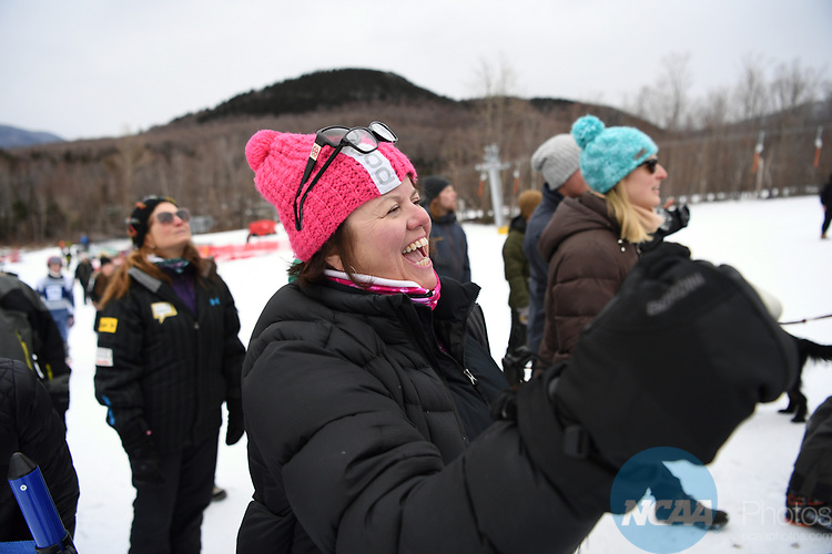 FRANCONIA, NH - MARCH 10:   A fan cheers during the Men's Slalom event at the Division I Men's and Women's Skiing Championships held at Cannon Mountain on March 10, 2017 in Franconia, New Hampshire. (Photo by Gil Talbot/NCAA Photos via Getty Images)