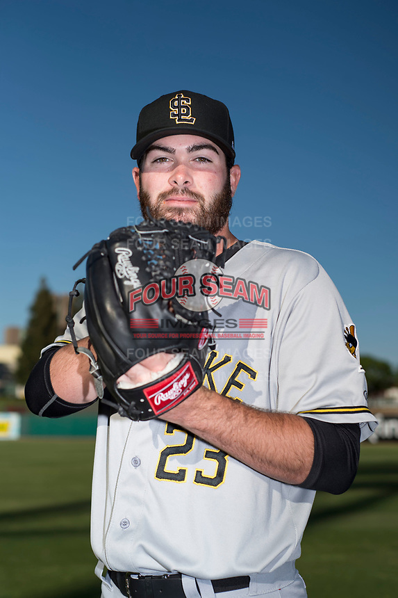 Salt Lake City Bees starting pitcher Adam Hofacket (23) poses for a photo before a Pacific Coast League game against the Fresno Grizzlies at Chukchansi Park on May 14, 2018 in Fresno, California. Fresno defeated Salt Lake City 4-3. (Zachary Lucy/Four Seam Images)