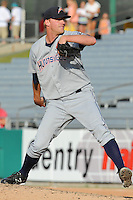 Huntsville Stars pitcher RJ Seidel #28 delivers a pitch during a game against the Tennessee Smokies at Smokies Park on August 12, 2012 in Kodak, Tennessee. The Smokies defeated the Stars 4-0. (Tony Farlow/Four Seam Images).