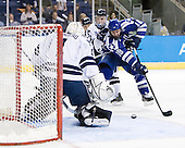 Ryan Rondeau (Yale - 1), Andrew Miller (Yale - 17), George Michalke, III (Air Force - 18) - The Yale University Bulldogs defeated the Air Force Academy Falcons 2-1 (OT) in their East Regional Semi-Final matchup on Friday, March 25, 2011, at Webster Bank Arena at Harbor Yard in Bridgeport, Connecticut.