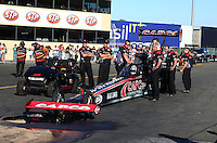 Jul. 26, 2013; Sonoma, CA, USA: NHRA crew members for top fuel dragster driver Steve Torrence during qualifying for the Sonoma Nationals at Sonoma Raceway. Mandatory Credit: Mark J. Rebilas-