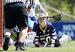 DURHAM, NC - APRIL 08: Notre Dame's Ryder Garnsey (50) looks up to see if his goal counted. The Duke University Blue Devils hosted the University of Notre Dame Fighting Irish on April 8, 2017, at Koskinen Stadium in Durham, NC in a Division I College Men's Lacrosse match. Duke won the game 11-8.