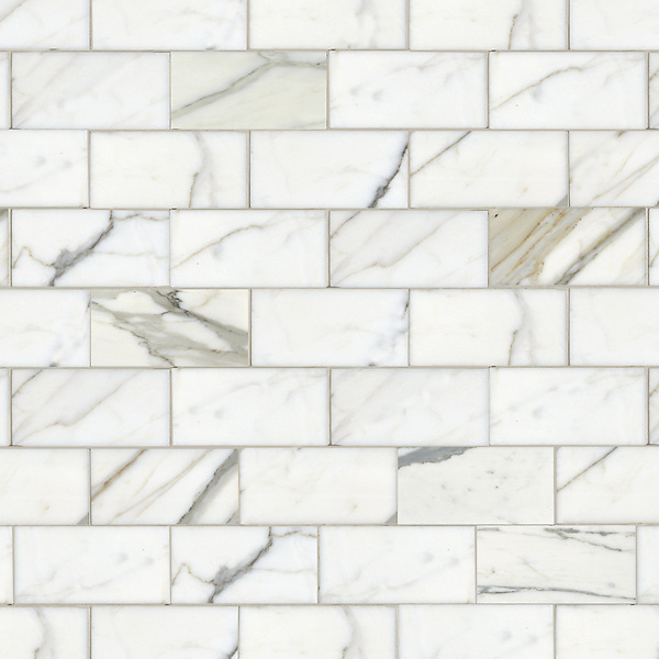 "Running Bond, a hand-cut stone mosaic, shown in polished 3"" x 6"" Calacatta."