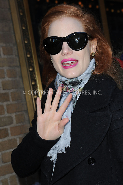 WWW.ACEPIXS.COM . . . . . .February 9, 2013...New York City....Jessica Chastain arrives for a performance of the broadway play 'The Heiress' at the Walter Kerr Theater on February 9, 2013 in New York City. ....Please byline: KRISTIN CALLAHAN - WWW.ACEPIXS.COM.. . . . . . ..Ace Pictures, Inc: ..tel: (212) 243 8787 or (646) 769 0430..e-mail: info@acepixs.com..web: http://www.acepixs.com .