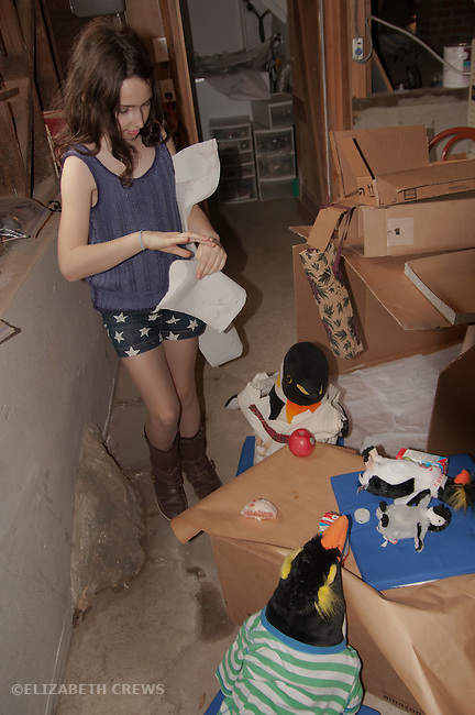 Berkeley CA Girl, 9, designing party for her stuffed penguins with shipping cartons  MR