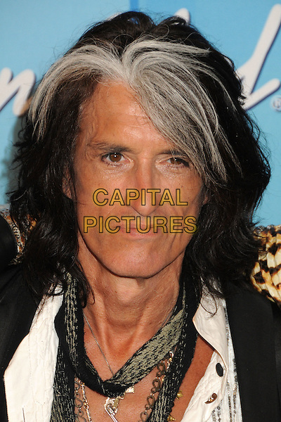 Joe Perry, Aerosmith.American Idol Season 11 Finale - Press Room held at Nokia Theatre LA Live, Los Angeles, California, USA..May 23rd, 2012.headshot portrait black white streak hair grey gray scarf.CAP/ADM/BP.©Byron Purvis/AdMedia/Capital Pictures.
