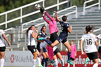 Cary, North Carolina  - Saturday July 01, 2017: Kailen Sheridan knocks the ball clear of Ashley Hatch during a regular season National Women's Soccer League (NWSL) match between the North Carolina Courage and the Sky Blue FC at Sahlen's Stadium at WakeMed Soccer Park.