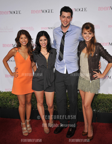 Prom stars Yin Chang (left), Janelle Ortiz, Nicholas Braun & Aimee Teagarden at the 8th Annual Teen Vogue Young Hollywood Party in partnership with Michael Kors at Paramount Studios, Hollywood..October 1, 2010  Los Angeles, CA.Picture: Paul Smith / Featureflash