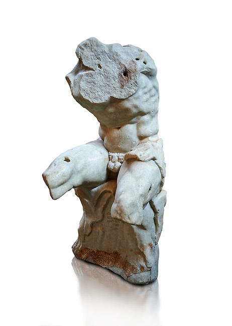 The celebrated Greek statue known as 'The Belvedere Torso', possibly of Greek hero Ajax, signed by Athenian neo-Attic sculptor Apollonios, ist century BC, inv 1192, Pope Clement collection, Vatican Museum Rome, Italy,  white background