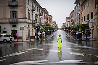 safety marchal at work in Terracina  in a super rainy stage 5<br /> <br /> Stage 5: Frascati to Terracina (140km)<br /> 102nd Giro d'Italia 2019<br /> <br /> ©kramon