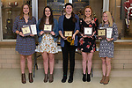 November 1, 2017- Tuscola, IL- Warrior Volleyball award recipients. From left are Cassie Russo (MVP/All-Conference), Rachel Manselle (Warrior Spirit), Karli Dean (Most Kills Award/All-Conference), Lexie Russo (Serving Percentage), and Natalie Bates (Defense Award/All-Conference). [Photo: Douglas Cottle]