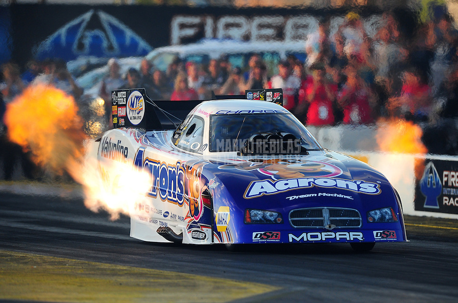Oct. 14, 2011; Chandler, AZ, USA; NHRA funny car driver Jack Beckman during qualifying for the Arizona Nationals at Firebird International Raceway. Mandatory Credit: Mark J. Rebilas-