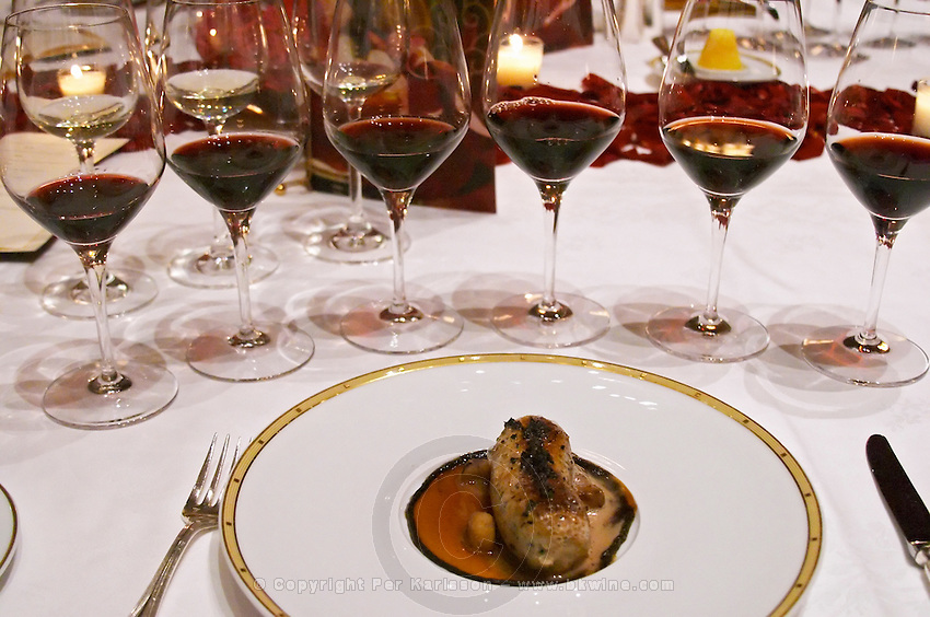 Dinner in the George V luxury restaurant in Paris. Boudin blanc white blood sausage. Paris, France. Wine tasting. Wine glasses.