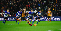 Hull City's Jarrod Bowen scores his side's second goal, from the penalty spot<br /> <br /> Photographer Chris Vaughan/CameraSport<br /> <br /> The EFL Sky Bet Championship - Hull City v Sheffield Wednesday - Saturday 12th January 2019 - KCOM Stadium - Hull<br /> <br /> World Copyright &copy; 2019 CameraSport. All rights reserved. 43 Linden Ave. Countesthorpe. Leicester. England. LE8 5PG - Tel: +44 (0) 116 277 4147 - admin@camerasport.com - www.camerasport.com