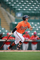 Baltimore Orioles Branden Becker (99) grounds out during a Florida Instructional League game against the Philadelphia Phillies on October 4, 2018 at Ed Smith Stadium in Sarasota, Florida.  (Mike Janes/Four Seam Images)