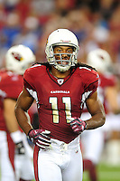 Aug. 22, 2009; Glendale, AZ, USA; Arizona Cardinals wide receiver (11) Larry Fitzgerald against the San Diego Chargers during a preseason game at University of Phoenix Stadium. Mandatory Credit: Mark J. Rebilas-