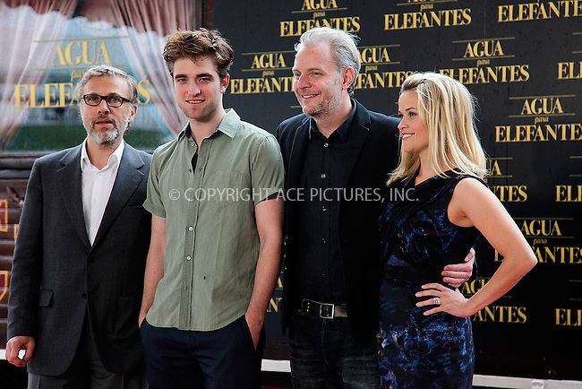 WWW.ACEPIXS.COM . . . . .  ..... . . . . US SALES ONLY . . . . .....May 2 2011, Barcelona....(L-R) Christoph Waltz, Robert Pattinson, Director Francis Lawrence and Reese Witherspoon at the 'Water for Elephants' photocall at the Circ Raluy on May 2, 2011 in Barcelona, Spain.....Please byline: FD-ACE PICTURES... . . . .  ....Ace Pictures, Inc:  ..tel: (212) 243 8787 or (646) 769 0430..e-mail: info@acepixs.com..web: http://www.acepixs.com