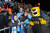 Jaguares fans with the team mascot during the 2019 Super Rugby final between the Crusaders and Jaguares at Orangetheory Stadium in Christchurch, New Zealand on Saturday, 6 July 2019. Photo: Dave Lintott / lintottphoto.co.nz