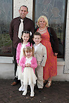 Alan, Liz, Charlie, Samuel and Breanna Corrigan at Donacarney NS Confirmation in The Star of the Sea Church...Photo NEWSFILE/Jenny Matthews.(Photo credit should read Jenny Matthews/NEWSFILE)....This Picture has been sent you under the condtions enclosed by:.Newsfile Ltd..The Studio,.Millmount Abbey,.Drogheda,.Co Meath..Ireland..Tel: +353(0)41-9871240.Fax: +353(0)41-9871260.GSM: +353(0)86-2500958.email: pictures@newsfile.ie.www.newsfile.ie.FTP: 193.120.102.198.