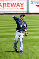 San Antonio Missions second baseman Keston Hiura (18) warms up in the outfield prior to a Pacific Coast League game against the Iowa Cubs on May 2, 2019 at Principal Park in Des Moines, Iowa. Iowa defeated San Antonio 8-6. (Brad Krause/Four Seam Images)
