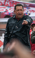 Venezuela: Caracas,04/10/11 .Venezuelan President Hugo Chavez gives a speech to his followers, under heavy rain, during the closing rally of his campaign in Caracas, three days after the presidential elections on October 7, where he seeks reelection for a further period of six years, after 14 years ruling Venezuela..Carlos Hernandez/Archivolatino