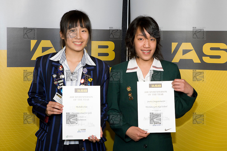 Girls Badminton finalists Michelle Chan & Jessica Jonggowisastro. ASB College Sport Young Sportperson of the Year Awards 2008 held at Eden Park, Auckland, on Thursday November 13th, 2008.