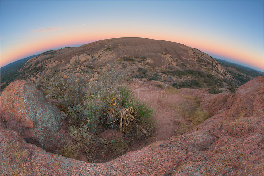 With the full moon setting in the west, this view shows the landscape of Enchanted Rock from the top of Turkey Peak. This was a cold November Morning and the views were wonderful as I surveyed the vast buttes of the Llano Uplift of the Texas Hill Country.