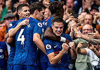 Cesar Azpilicueta of Chelsea celebrates his disallowed goal during the Premier League match between Chelsea and Liverpool at Stamford Bridge, London, England on 22 September 2019. Photo by Liam McAvoy / PRiME Media Images.