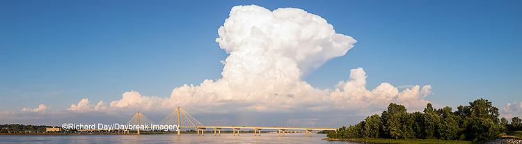 63895-14515 Clark Bridge over Mississippi River and thunderstorm (Cumulonimbus Cloud) Alton, IL