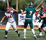 SPEARFISH, SD - SEPTEMBER 17: Black Hills State quarterback Ryan Hommell #7 throws over Dixie State defender Keauni Foki #44 during their college football game Saturday September 17, 2016 at Lyle Hare Stadium in Spearfish, S.D. (Photo by Dick Carlson/Inertia)