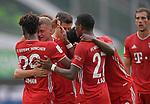 27.06.2020, Fussball: nph00001 1. Bundesliga 2019/2020, 34. Spieltag, VfL Wolfsburg - FC Bayern Muenchen, in der Volkswagen-Arena Wolfsburg. Jubel FC Bayern MŸnchen zum Tor zum 0:2<br /><br />Foto: Bernd Feil/M.i.S./ /Pool/nordphoto<br /><br />Nur fŸr journalistische Zwecke! Only for editorial use! <br /><br />GemŠ§ den Vorgaben der DFL Deutsche Fussball: nph00001 Liga ist es untersagt, in dem Stadion und/oder vom Spiel angefertigte Fotoaufnahmen in Form von Sequenzbildern und/oder videoŠhnlichen Fotostrecken zu verwerten bzw. verwerten zu lassen. DFL regulations prohibit any use of photographs as image sequences and/or quasi-video.    <br /><br />National and international NewsAgencies OUT.