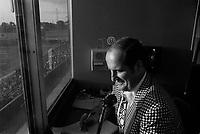 """Claude Mouton au Parc Jarry en juillet 1973 (date exacte inconnue).<br /> <br /> Claude Mouton travailla pour les Expos jusqu'en 1973, alors qu'il quitta le club, et concentra ses Žnergies dans la fonction d'annonceur maison pour les matchs du club de hockey """"Les Canadiens de MontrŽal"""", poste qu'il exerait depuis 1969. <br /> <br />  <br /> <br /> <br /> PHOTO : Alain Renaud<br />  - Agence Quebec Presse"""