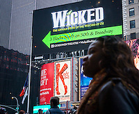 Advertising in Times Square in New York for Broadway plays and musicals  seen on Sunday, January 4, 2015. The holidays were good for Broadway with 19 of the 36 shows running breaking a $1 million box office during Christmas week. Over 30,000 patrons filled theater seats compared to last year at this time.  (© Richard B. Levine)