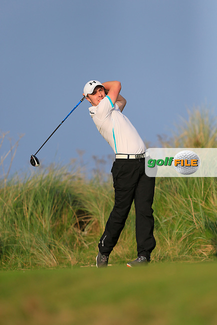 Eoin O'Brien (MU) on the 17th tee during Round 1 of the Irish Intervarsity Championship at Rosslare Golf Club on Wednesday 4th November 2015.<br /> Picture:  Thos Caffrey / www.golffile.ie