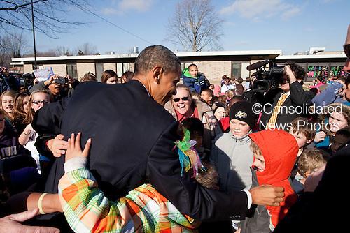 United States President Barack Obama greets children at Sycamore Elementary in Kokomo, Indiana, November 23, 2010. .Mandatory Credit: Pete Souza - White House via CNP